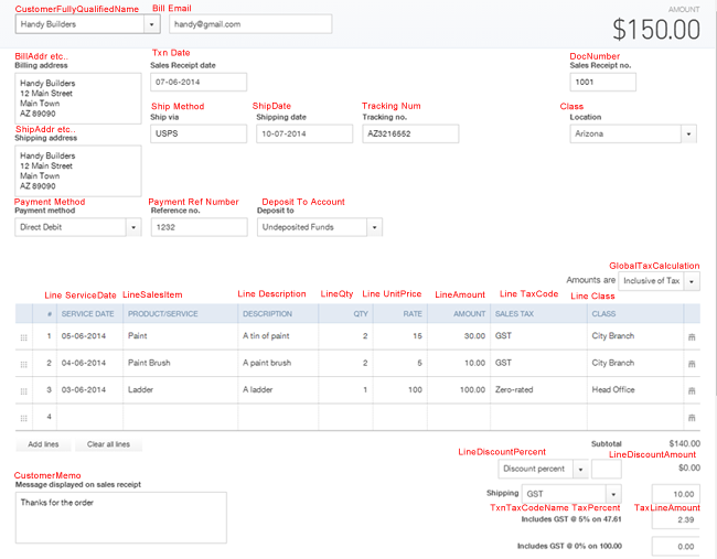 import sales receipts into quickbooks online zed systems