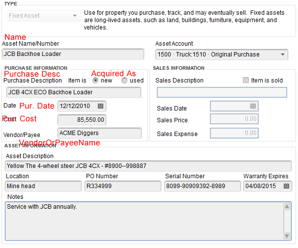 Import fixed assets into QuickBooks