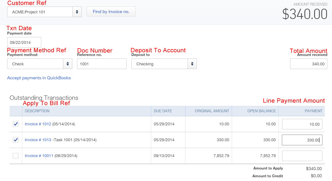 import receive payments into qbo