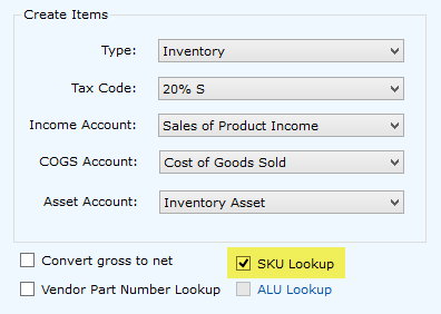 SKU Lookup option