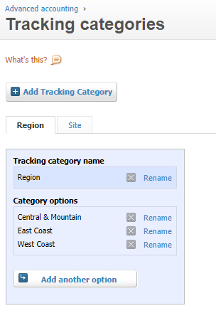 Xero Tracking Categories