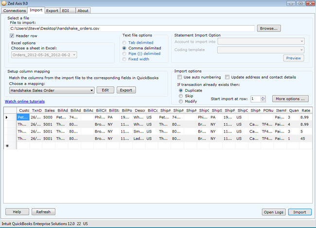 Import Handshake orders into QuickBooks - Zed Systems
