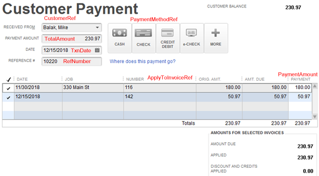 Receive payments into QuickBooks