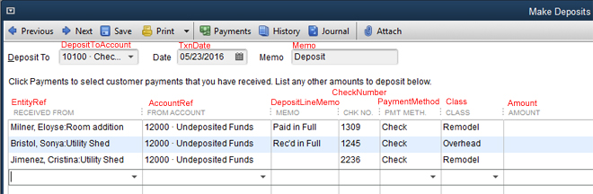 Import deposits into QuickBooks