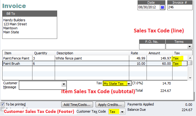 QuickBooks Sales Tax Codes