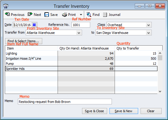 QuickBooks Inventory Transfer